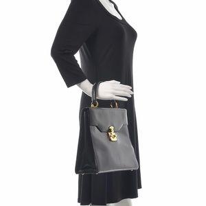 GUCCI Calfskin Lady Lock Top Handle Bag Black